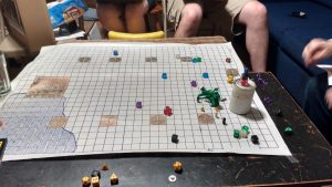 Using dice and legos for miniatures.