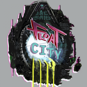 Float City's logo, a ragged stiffworks in space